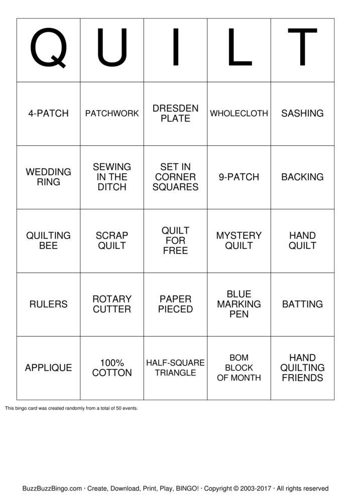 Download RIVER VALLEY QUILTERS Bingo Cards