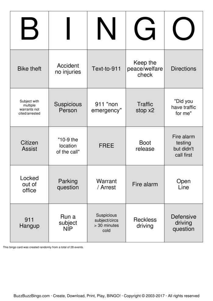 Download 911 Dispatcher Bingo Cards
