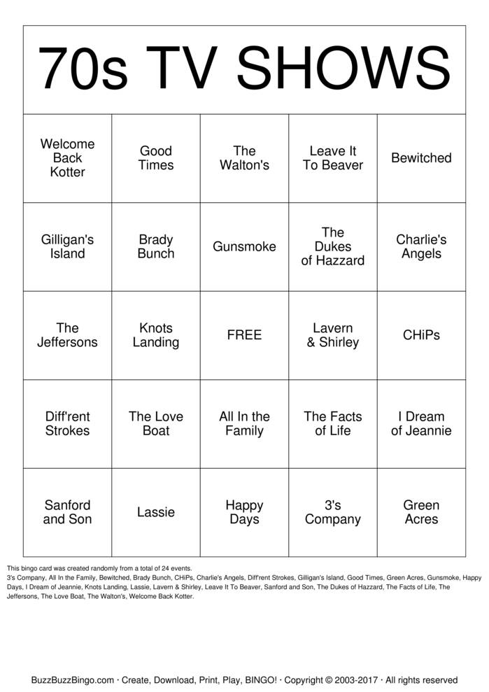 Old TV Shows Bingo Cards to Download, Print and Customize!