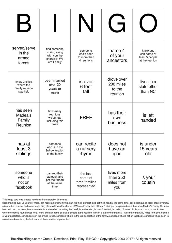 Download Stalling Family Reunion Bingo Cards