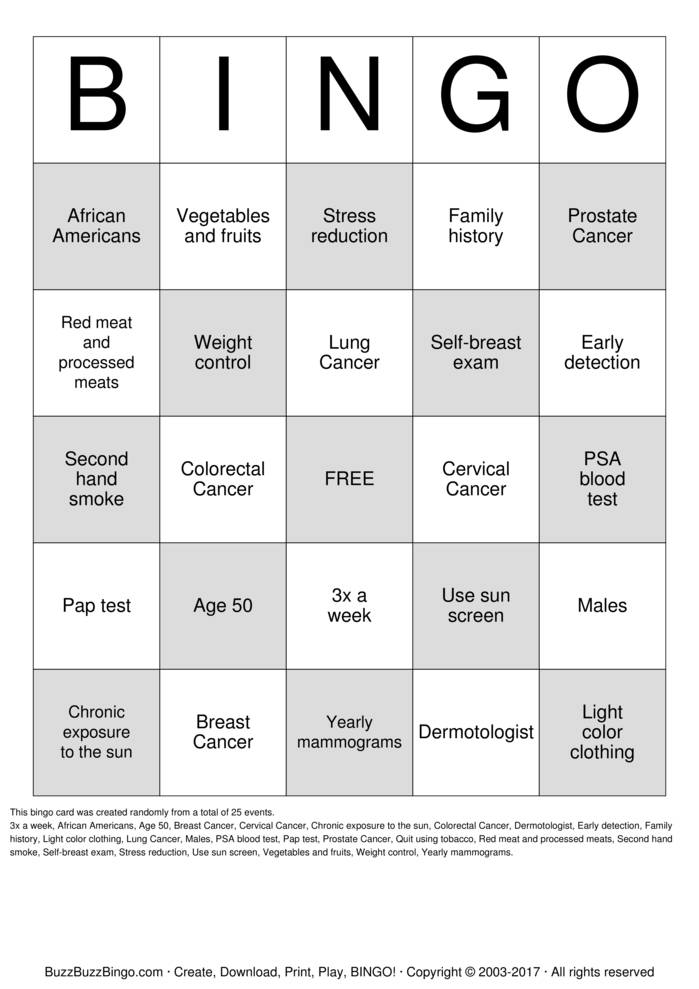 Download Treasure your Chest GF  Bingo Cards