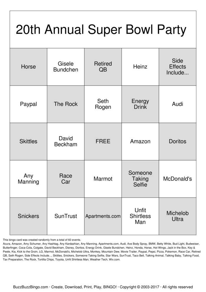 Download 2016 Superbowl Commercials Bingo Cards