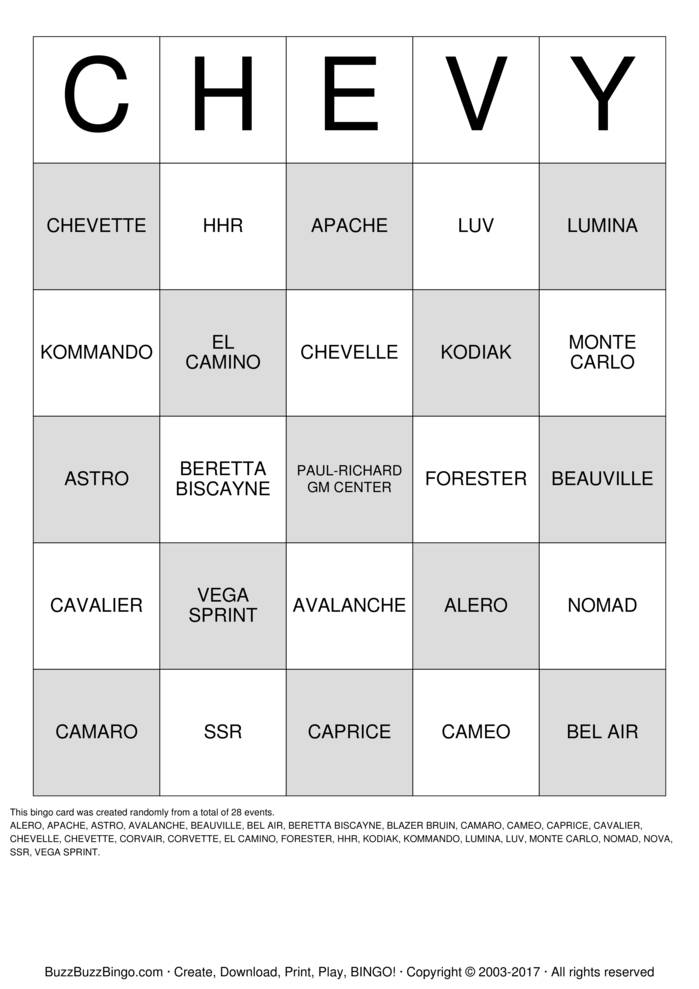Download CHEVY  Bingo Cards