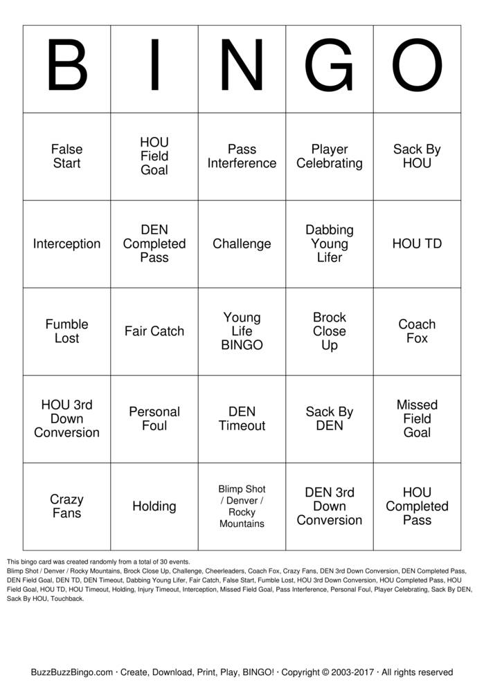 Download Football Bingo Cards