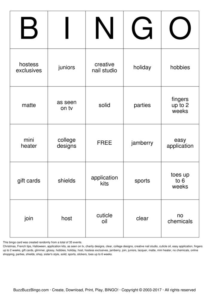 Download Jamberry Bingo Cards