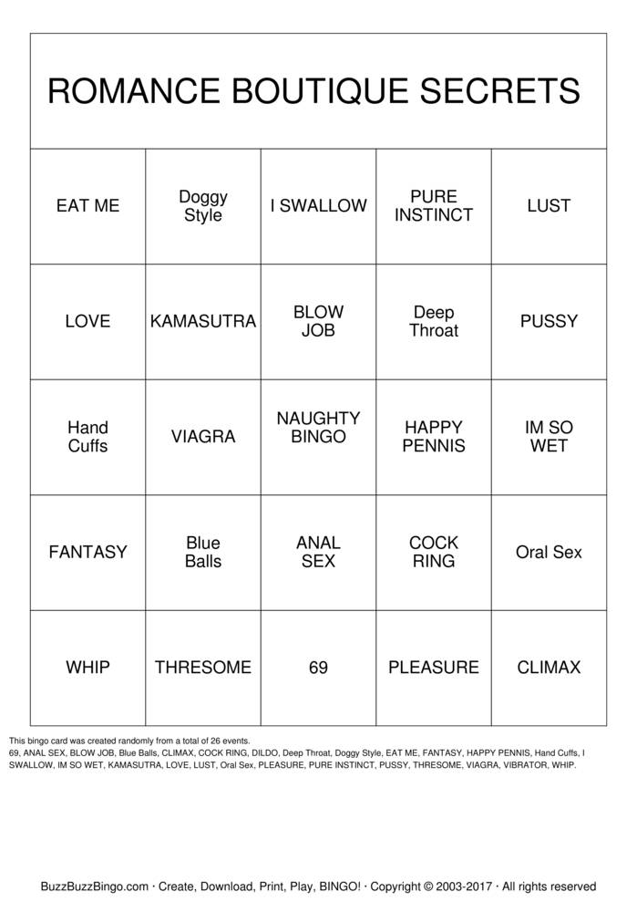 Adult Bingo Cards 31