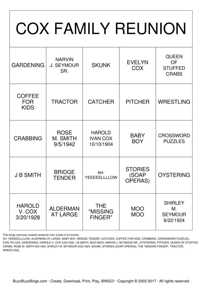 Download COX FAMILY BINGO Bingo Cards