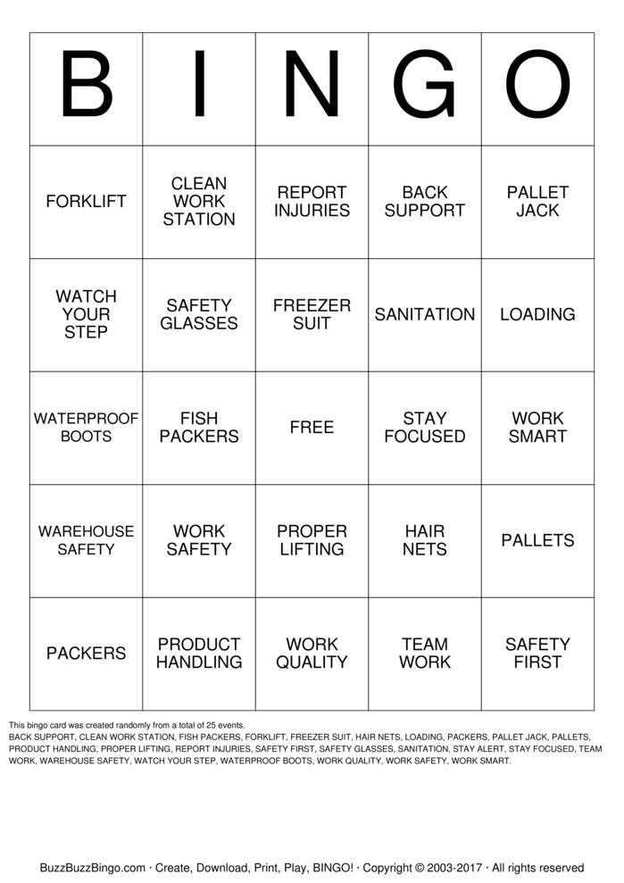 Download DiCarlo Seafood Safety Bingo Cards
