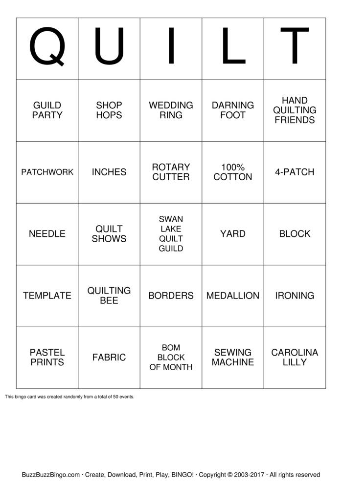 Swan Lake Quilt Guild Bingo Card