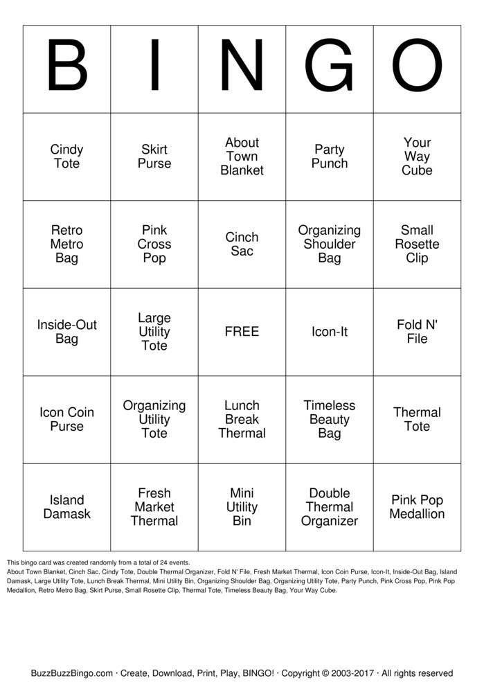 Download Thirty-One Gifts Bingo Cards