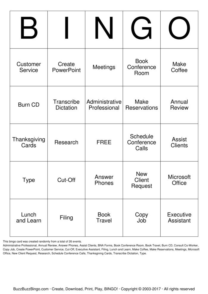 Download Administrative Professional Bingo Cards