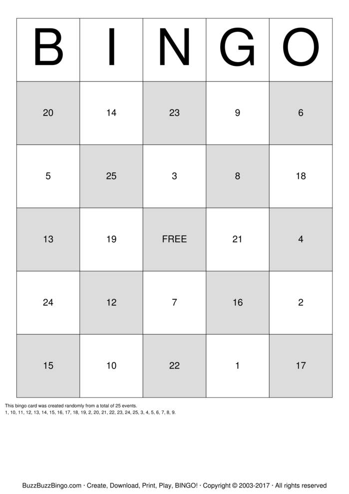 Download BINGO Bingo Cards
