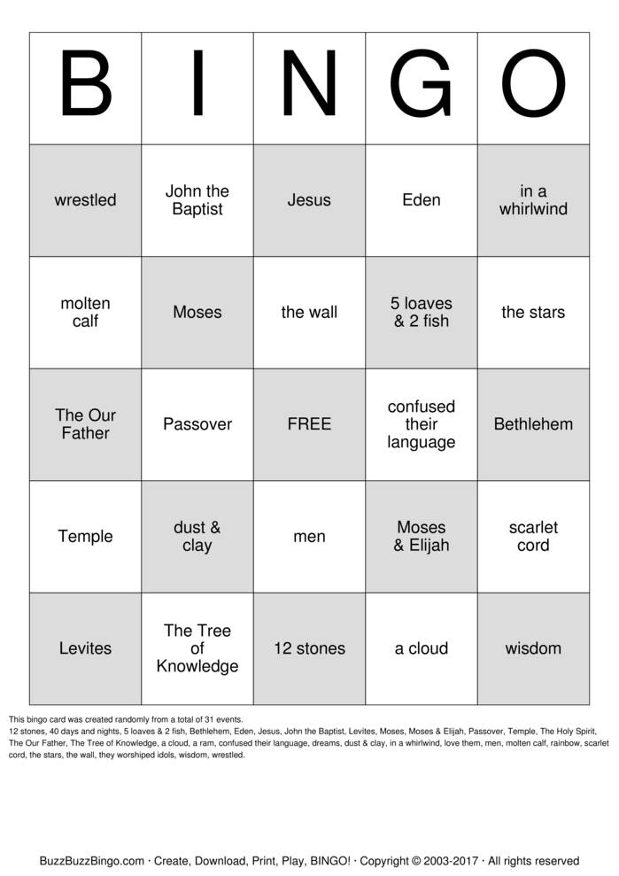 Download Bible Bingo Cards