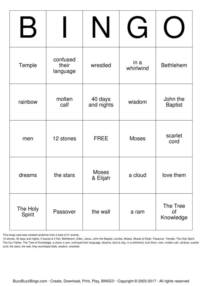 Bible Bingo Card