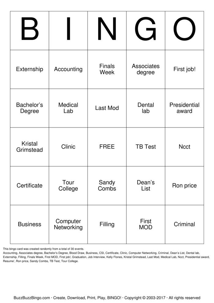 Dental  Bingo Card