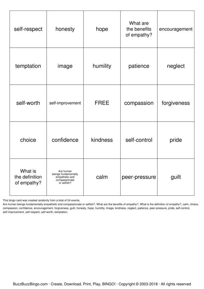 Download Empathy BINGO Bingo Cards