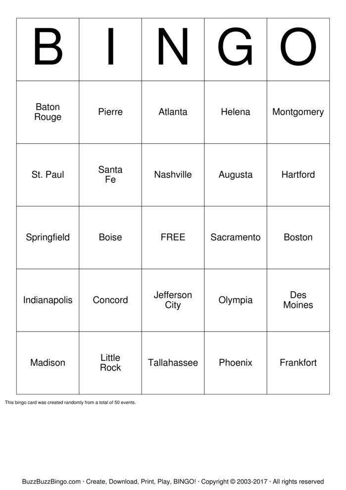 Download US State Capitals Bingo Cards
