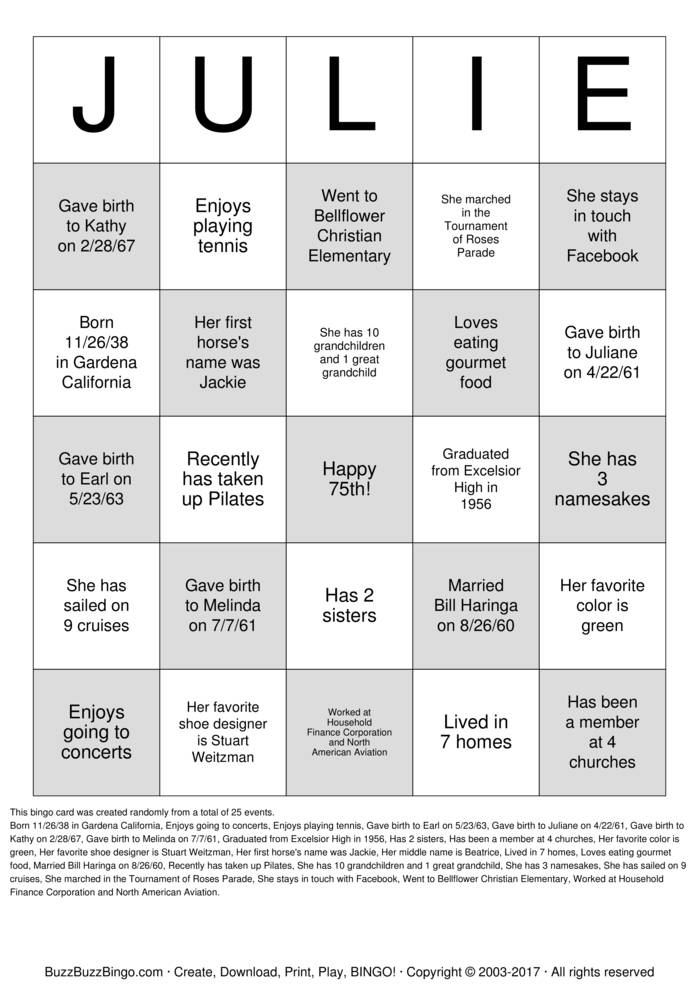 Download  75th Birthday BINGO Bingo Cards
