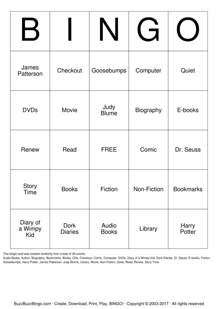 Library Bingo Bingo Cards To Download Print And Customize