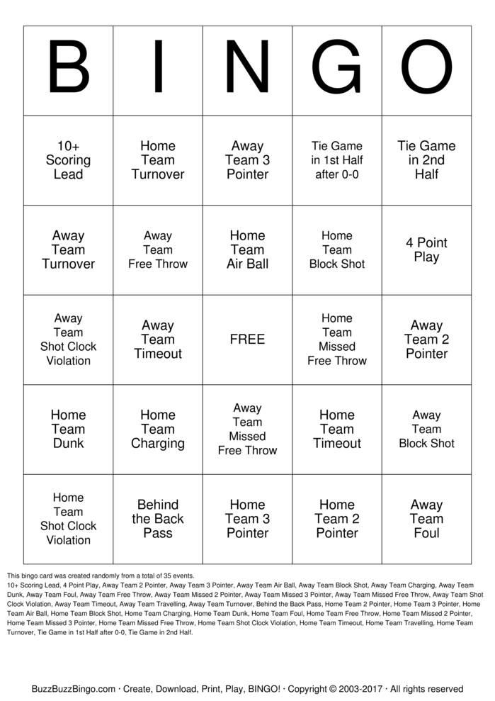 Download NCAA Basketball Bingo Cards