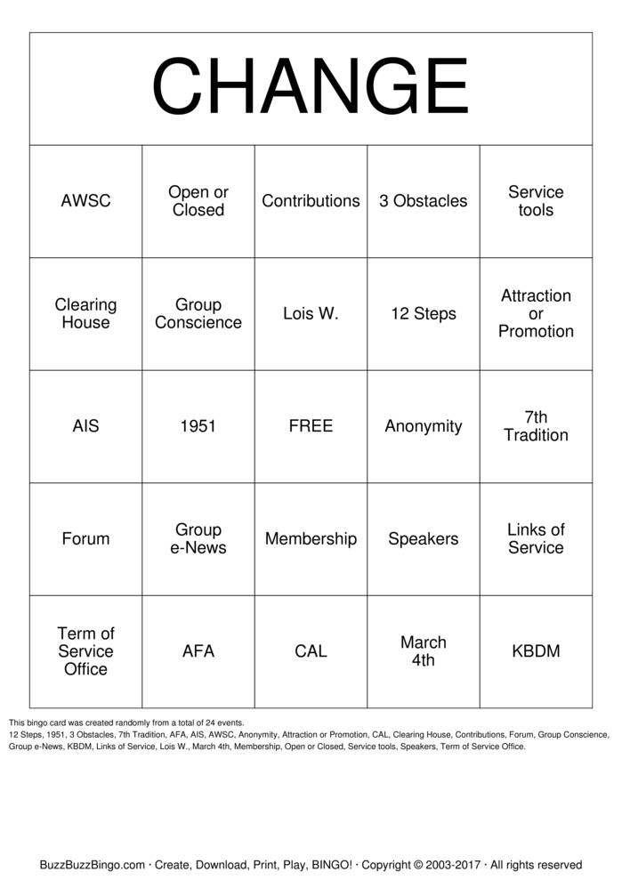 Download Al-Anon Bingo Cards
