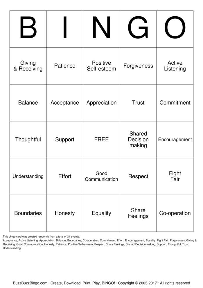 Download Healthy Relationships Bingo Cards