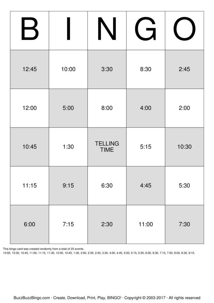 Telling Time Bingo Cards To Download Print And Customize