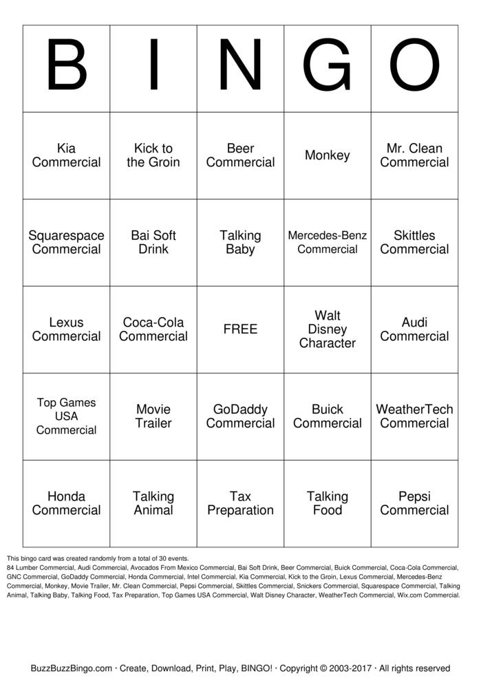 2017 Superbowl Commercials Bingo Card