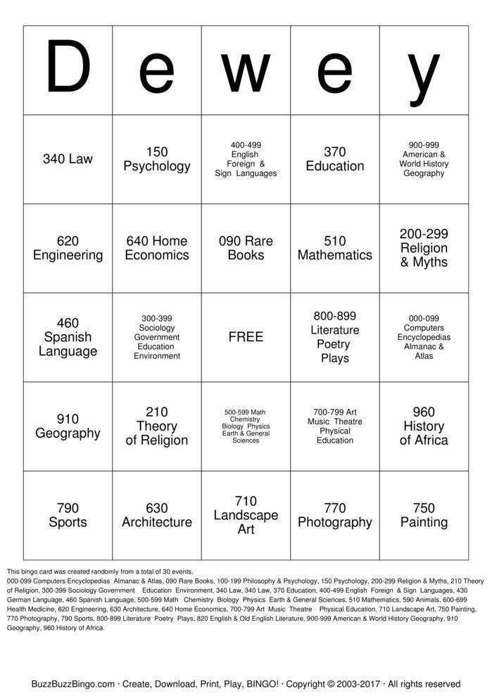 Download Dewey Decimal Bingo Cards