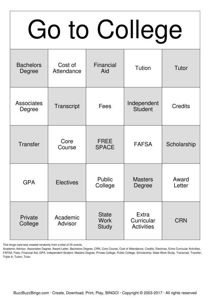 College Bingo Cards to Download, Print and Customize!