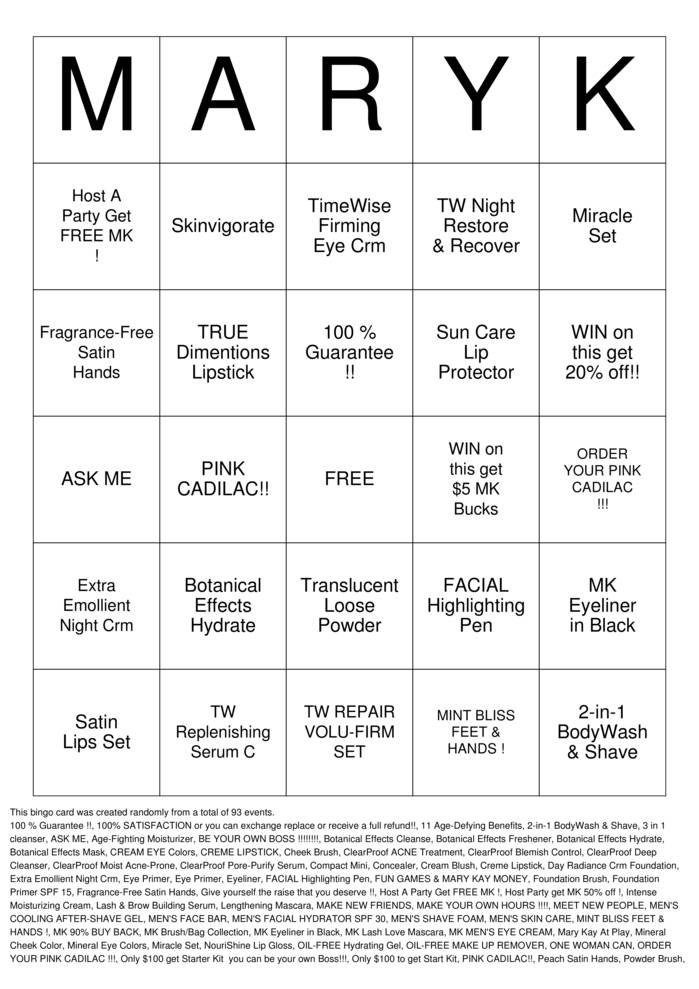 Mary Kay Bingo Bingo Cards To Download Print And Customize