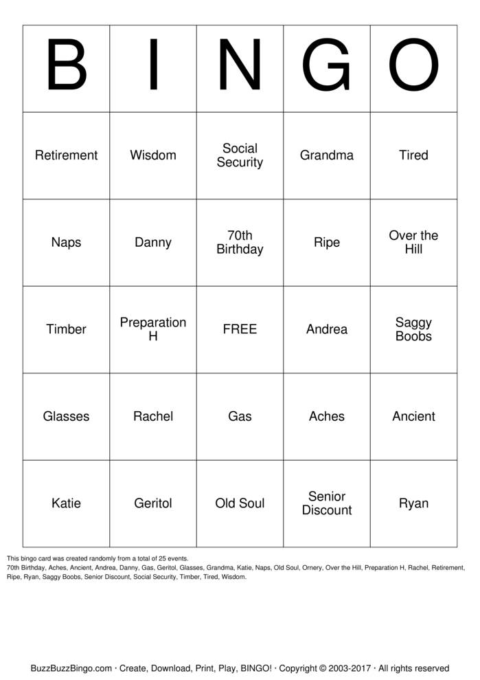 Download Shirley's 70th Bingo Cards