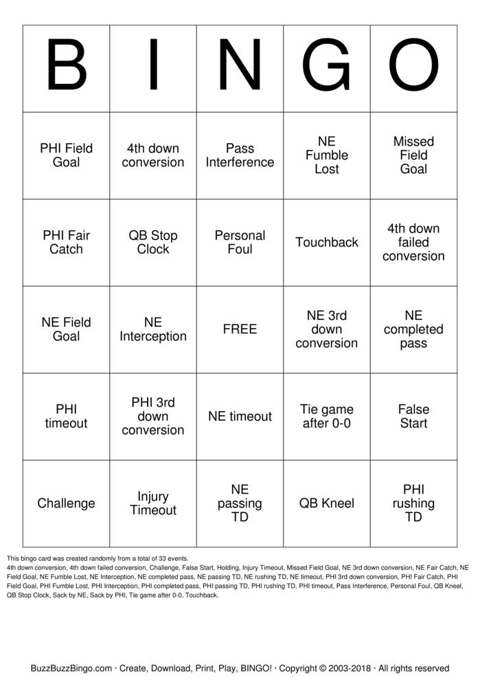 2018 Superbowl NE vs PHI Bingo Card