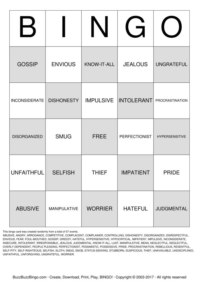 It is a picture of Légend Character Bingo Template