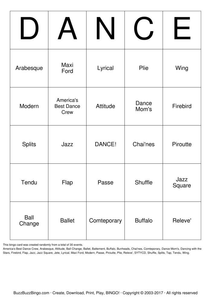 Download DANCE Bingo Cards