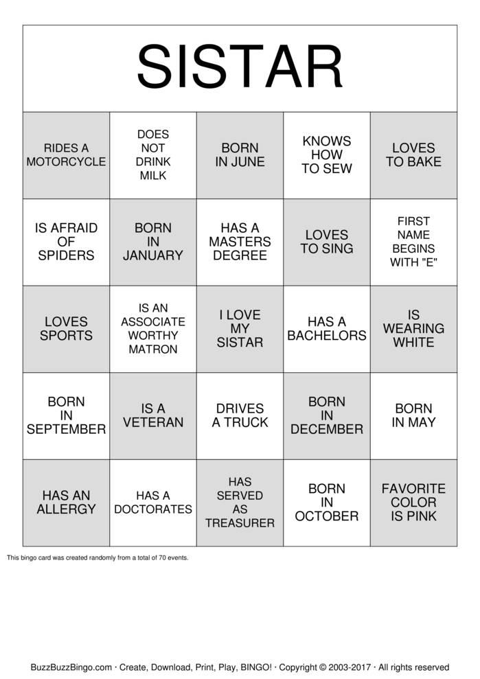 Download FIND A SISTAR WHO....BINGO Bingo Cards