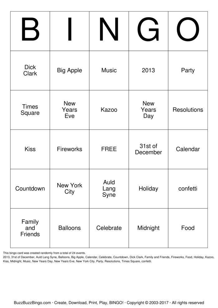 new years eve bingo cards to download  print and customize