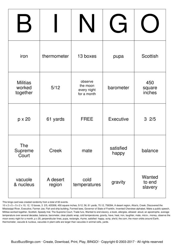 Download TCAP BINGO Bingo Cards