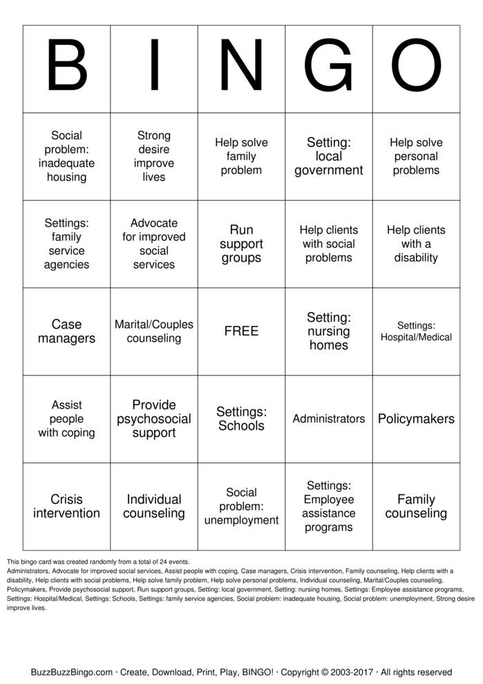 Download All About Social Work Bingo Cards