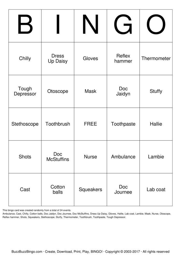 Download Doc McStuffins Bingo Cards