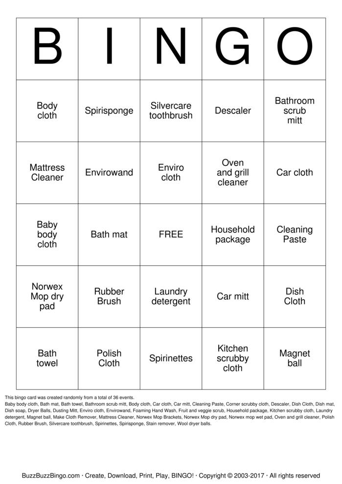 Norwex Bingo Cards To Download Print And Customize
