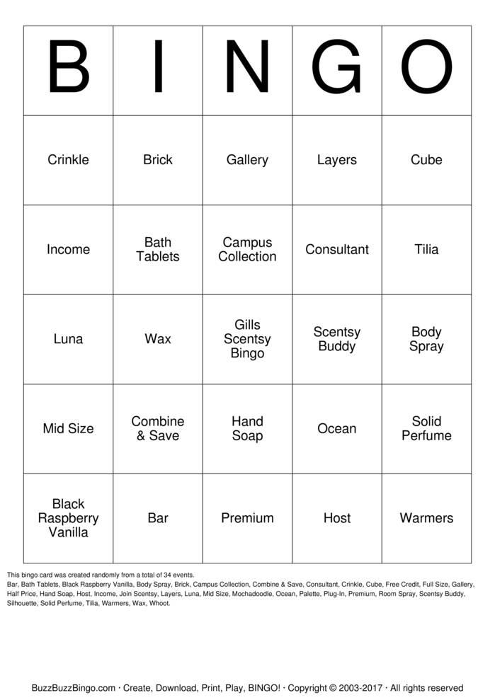 Download Scentsy Bingo Cards
