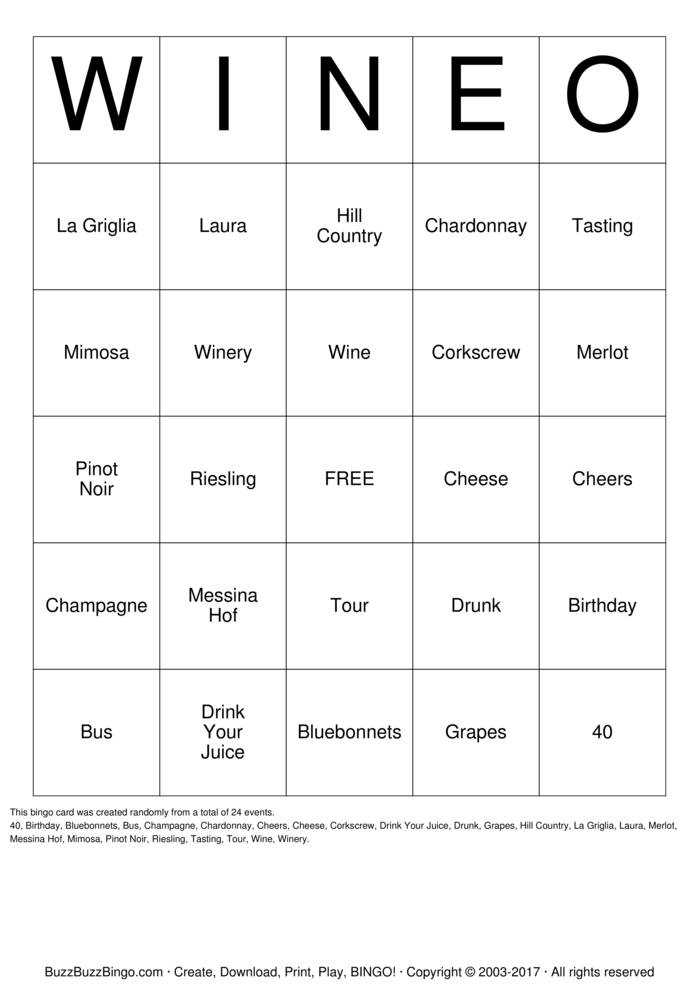 Download WESTWOOD BLUFFS WINEO Bingo Cards