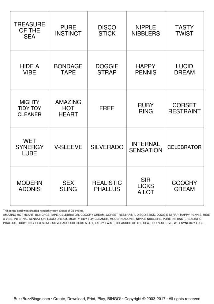 Adult Bingo Cards 91