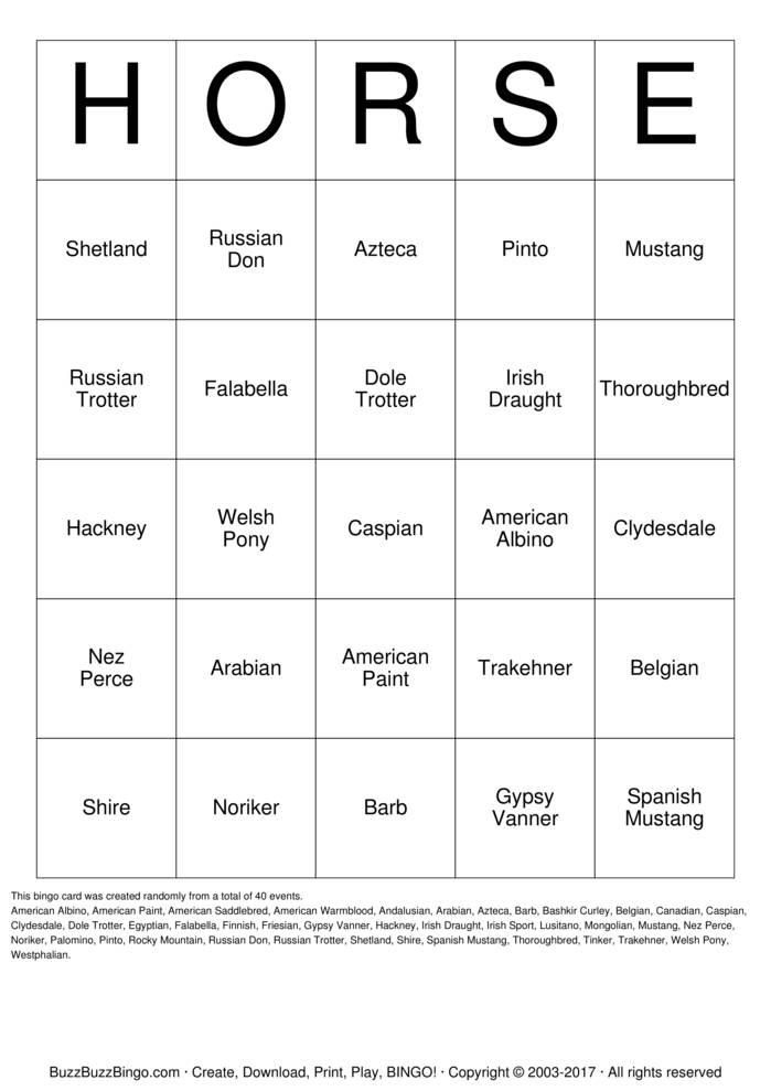 Download Horse Bingo Cards