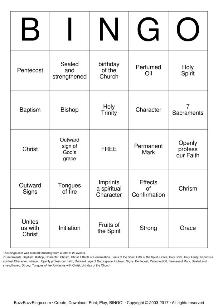 Download Pentecost Bingo Cards