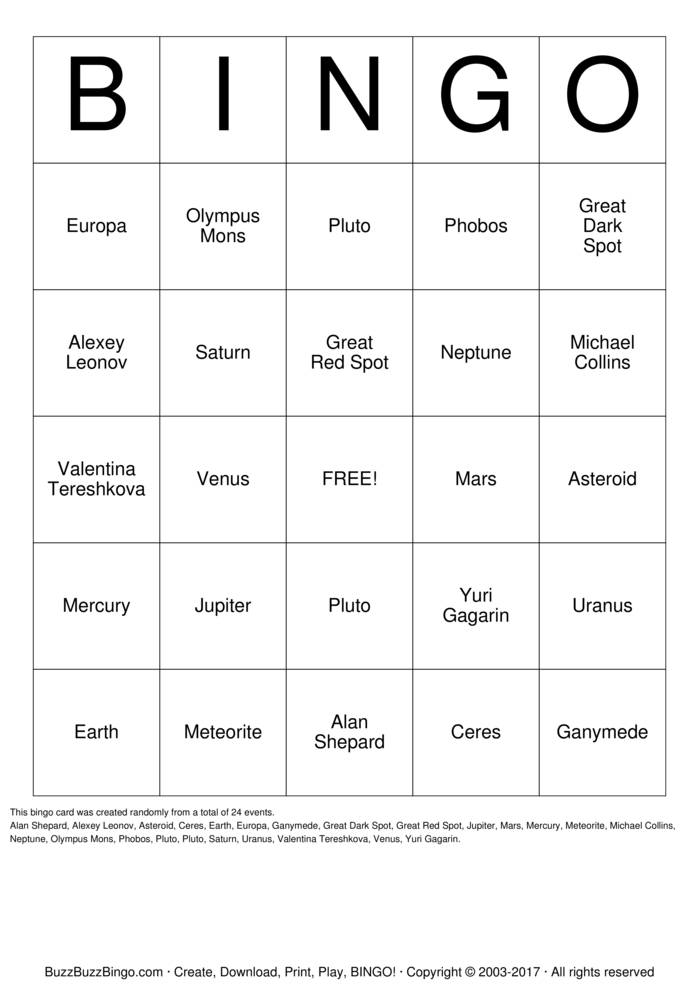 Download Planet Bingo Bingo Cards