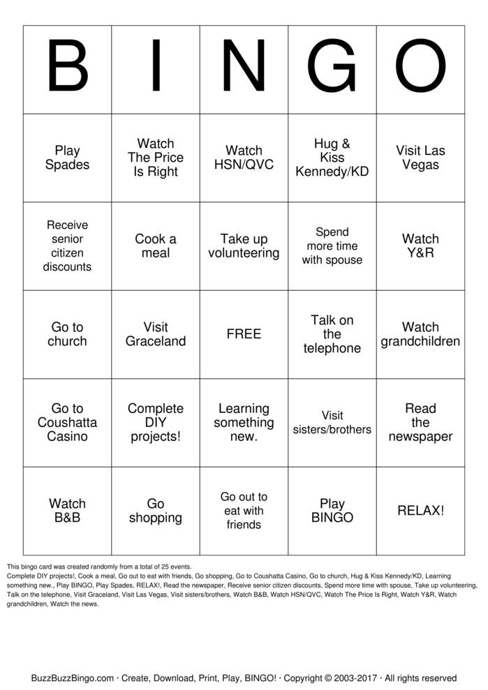 Download Retirement BINGO Bingo Cards