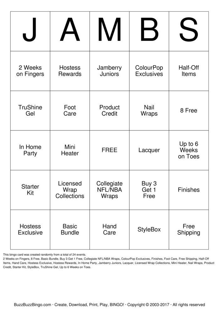 Download Jamberry Bingo Cards