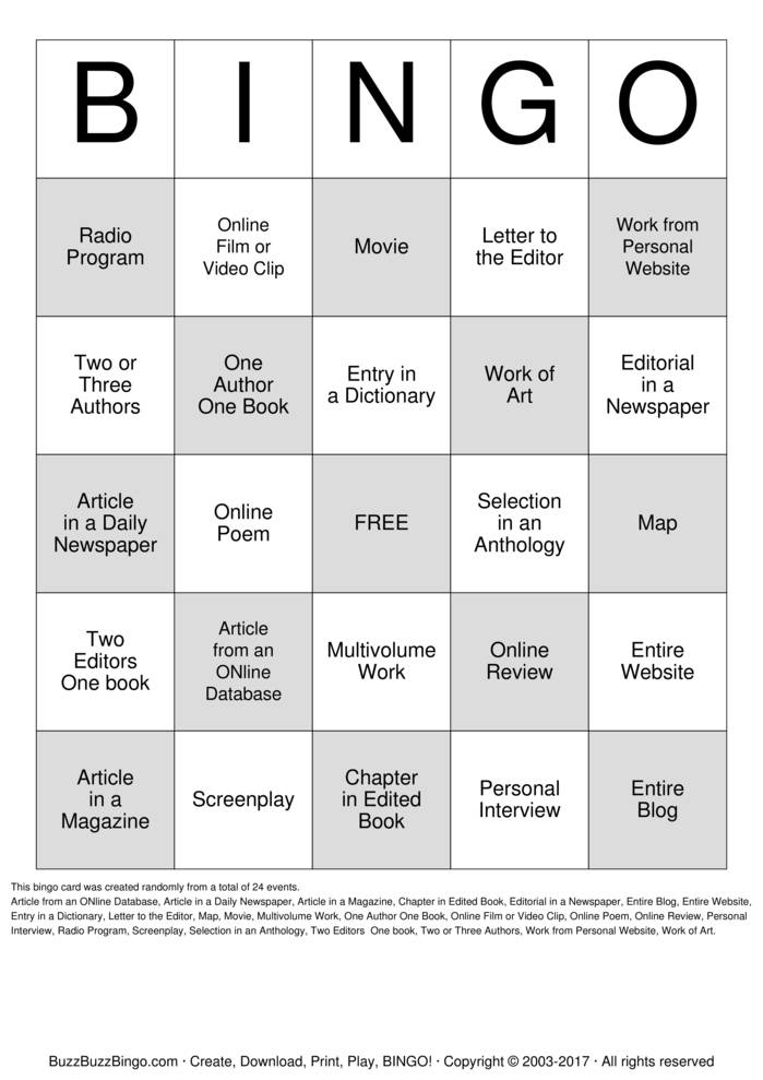 create bingo card online